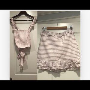 Aqua two piece shirt and skirt NWT